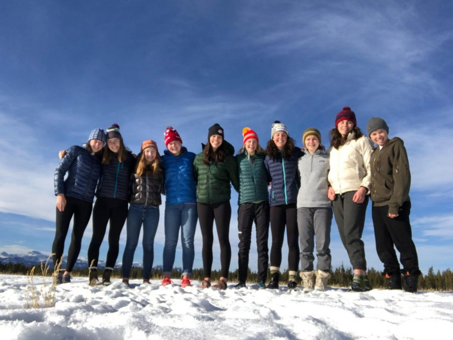 The girls nordic varsity team trains in Yellowstone, Wyoming from Nov. 16-24 for a training camp. The girls in the picture from left to right are Emma Albrecht, Libby Tuttle, Piper Wilson, Sydney Peterson, Emma Bourne, Liv Myers, Gabi Danielson, Amelia Lehmann, Louisa Ward, and Maddy Koltun.