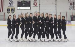 The team sometimes performs in between periods at hockey games. The skaters from left to right Berlim Mosssak, Grace Pugh, Sydney McNurlin, Stephanie Meiesterling, Julia Bennett, Grace Witt, Britta Hornback, Kendra Lundquist, Alecia Poppe, Sophia Weiss, Alison Bladder, Sophie Privette, Kyra Privette and Sophia Heidtke.