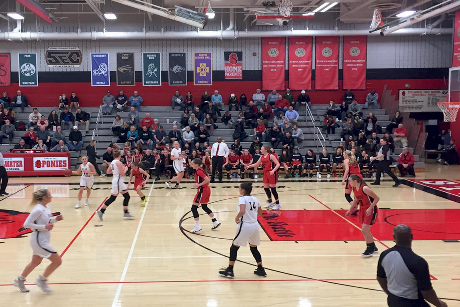 Stillwater+girls+basketball+team+won+their+first+conference+game+against+East+Ridge+on+Jan.+4.+The+final+score+was+75-26.+