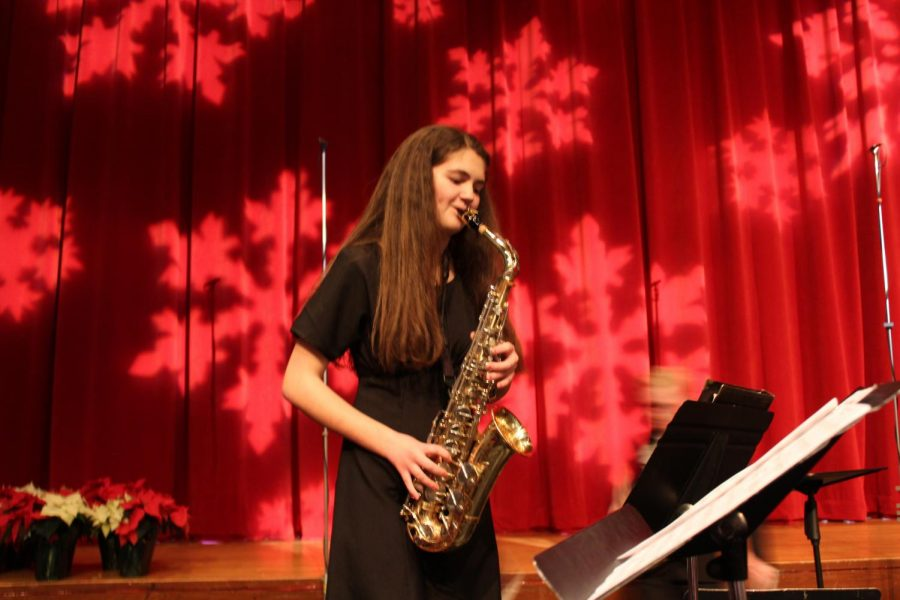 Sherilyn Patterson played her saxophone during the Jazz band portion of the Winter Concerts on Dec. 16 and 17. She played oboe and English horn in the Wind Symphony and Concert Orchestra portions of the concert.