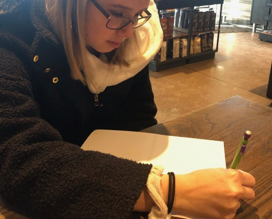 Junior Alli Kelm prepares for the ACT. There are multiple ways to prepare for the ACT. Kelm practices  her speed and knowledge of questions by doing practice worksheets.