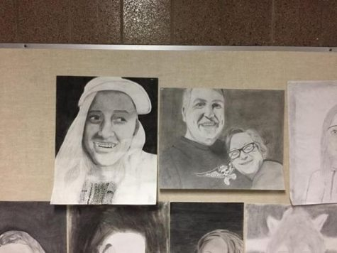 The Da Vinci Fest features drawings. Both the picture on the left, by junior Jordan Schmidt, and the picture on the right, by junior Lily Cichon, were submitted in the 2018 Da Vinci Fest. Both done in charcoal, Schmidt's piece is a portrait of sophomore Abbie Garness, and Cichon's piece portrays her parents.