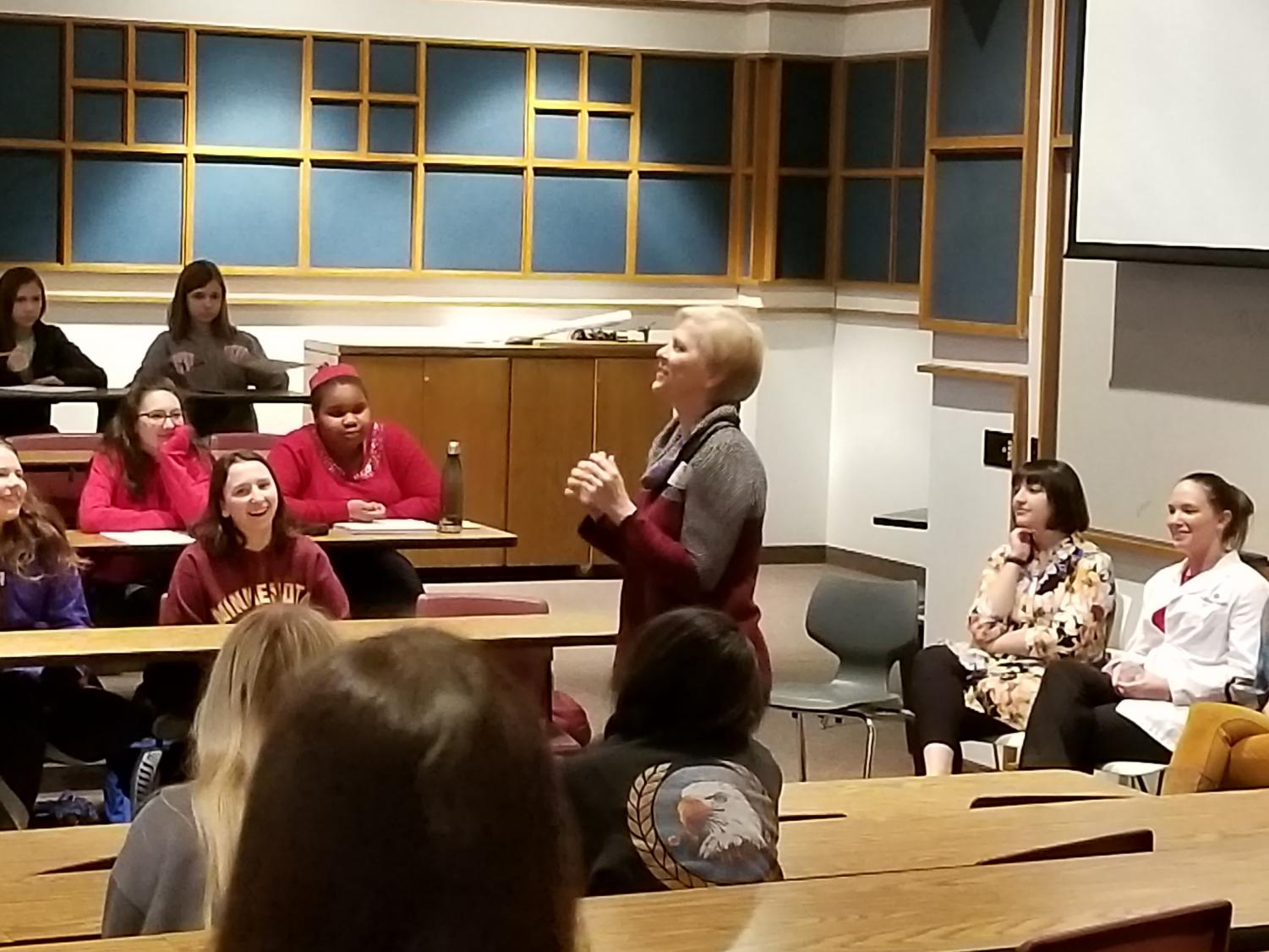Lee Valsvik, Class of 1978, spoke at the Girl Power Event Feb. 5. She spoke about her career as a radio show host and her experiences on various morning news programs.