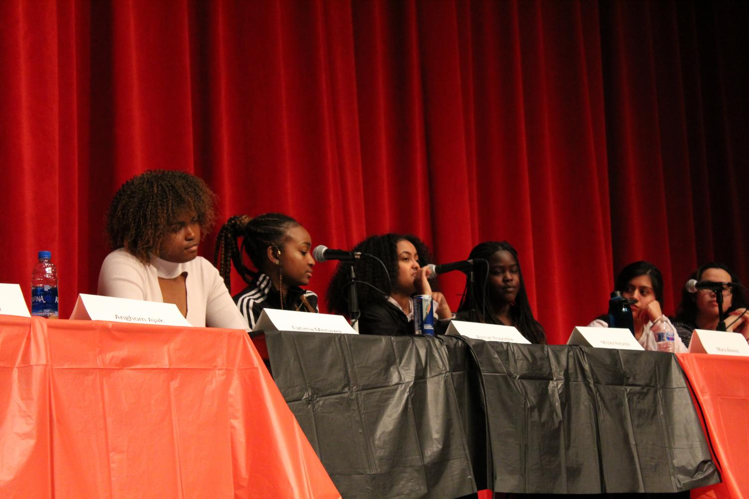 Senior and Black Student Union Co-President Misikir Kebede introduces herself during the first Black History Month event, a Girls of Color panel focusing on the intersection of race and gender.