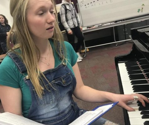 Senior Molly Puhrmann will continue to practice and rehearse each day until Les Miserables opens in April. She does anything from vocals to blocking on stage, to preparing.