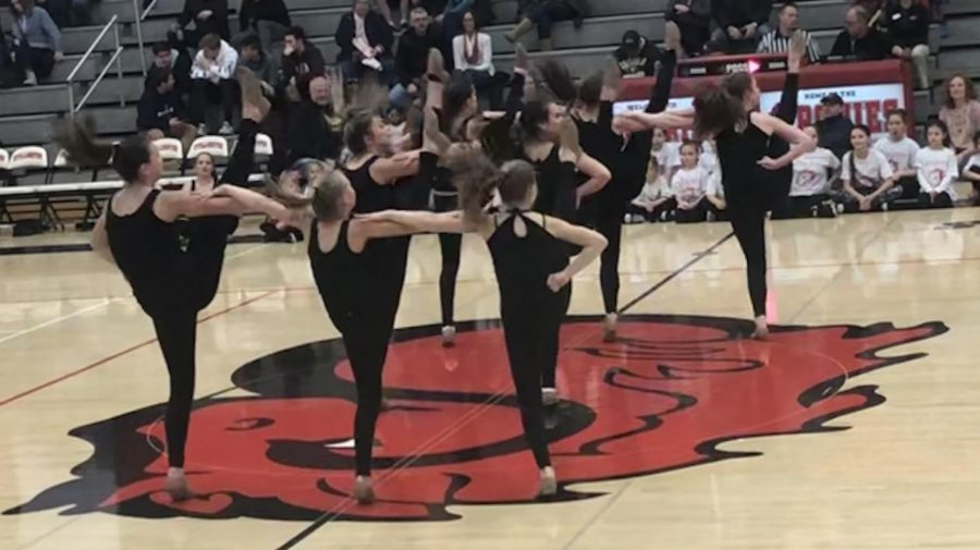 The+chavels+performed+Feb.+8.+During+halftime+at+the+varsity+boys+basketball+game.+Along+with+them+were+junior+dancers+from+around++the+community.