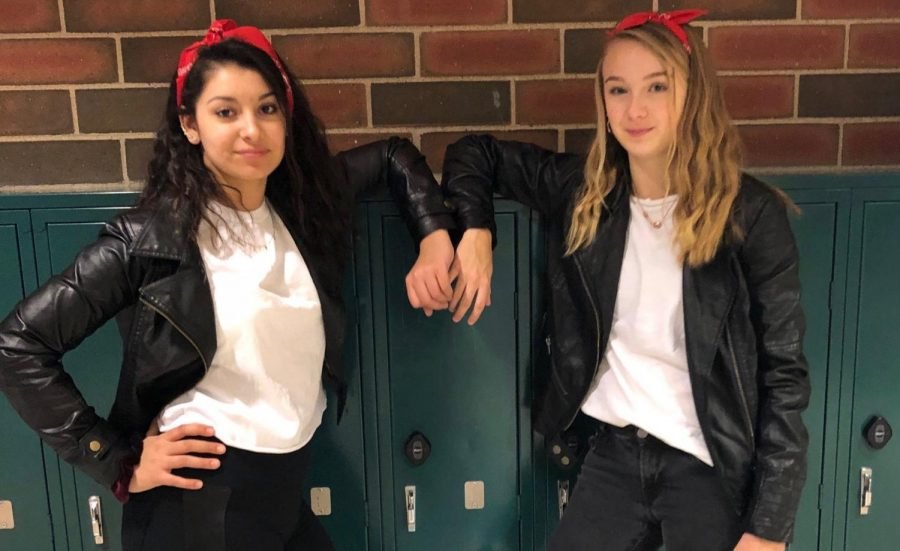 Student council members junior Lyxie Moosai and Jenna Yingling dress up for throwback day during BLAST week. Each day of the week offers a new theme to dress up for and show off school spirit.