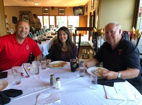 Don Gettinger,  far right, sits with his fellow assistant golf coaches Chad Bischoff, left, and Jordyn Price, middle. Gettinger has coached in the Stillwater golf programs for 15 years.