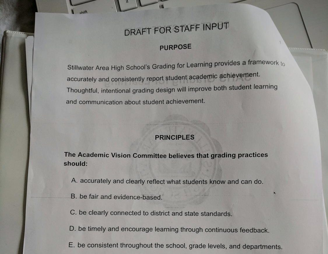 The Academic Vision Committee's new draft of a school wide grading policy released on Jan 7. While still a rough draft, it is getting a lot of feedback from staff.