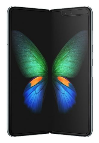 The new Galaxy Fold. This phone is set to release in April 2019. The phone has a large foldable screen.