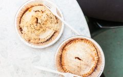 Sara's Tipsy Pies are handmade from scratch and are made with liquor. The pie on the left is an Irish Whiskey Pie, on the right is the Lit Up Apple Cran.