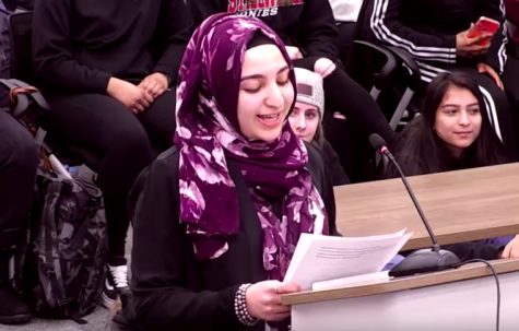"At a board meeting on Feb. 21, Shahd Abouhekel read aloud her poem titled ""I Am From Palestine."" In her poem, she speaks of her experience with oppression, violence and abuse."