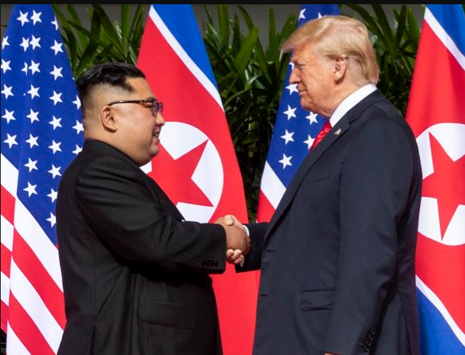 Trump+and+Kim+Jong+Un+shake+hands+with+smiling+faces+on+Feb.+27.+Both+leaders+had+10+days+to+prepare+for+their+second+meeting+compared+to+their+first+with+two+months+of+preparation+time.++