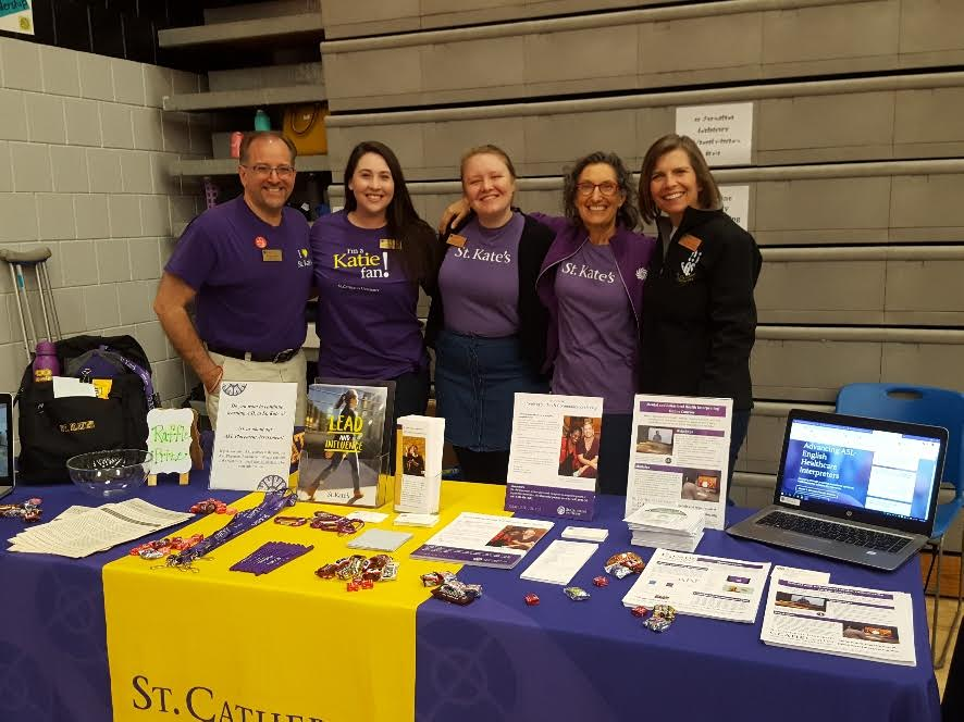 Members of St. Catherine's University at the Deaf Event April 27. They are representing the ASL major and minor opportunities offered at St. Catherine University. Those who take the programs find jobs as translators and social service workers.