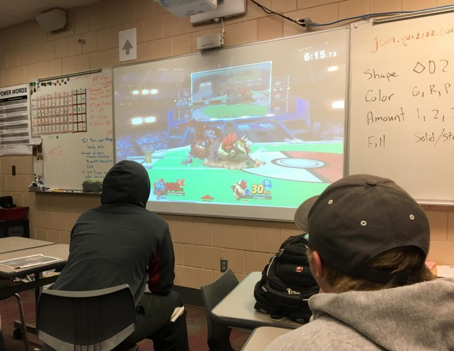 Students practice for their tournament during flex time. Tournaments take place Wednesdays during flex and Fridays after school in video game club.