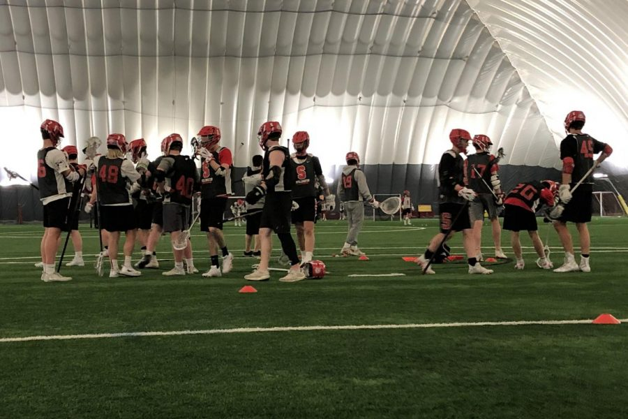 The boys lacrosse team practices at the St. Croix Valley Recreation Center. The team has now switched to distance coaching during the pandemic.