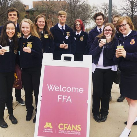 FFA members explore the U of M campus after competing in state. Each year the U of M host the Minnesota State FFA Competition.