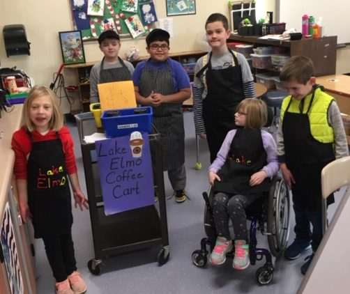 Special Education students at Lake Elmo Elementary in grades three through five run the coffee cart. Each Friday, they deliver coffee and hot chocolate to the staff members who have ordered some.