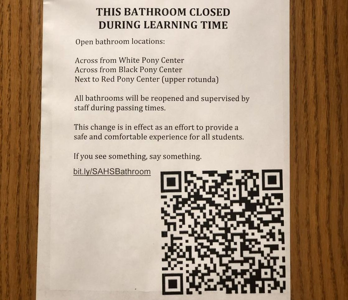 Signs posted outside all bathrooms, warning of the new bathroom use policy.