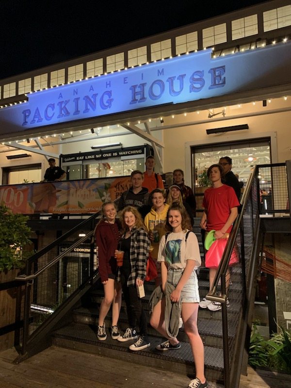 After+filling+their+stomachs+at+the+Anaheim+Packing+House%2C+Pony+Express+students+get+ready+to+take+a+shuttle+back+to+their+hotel.