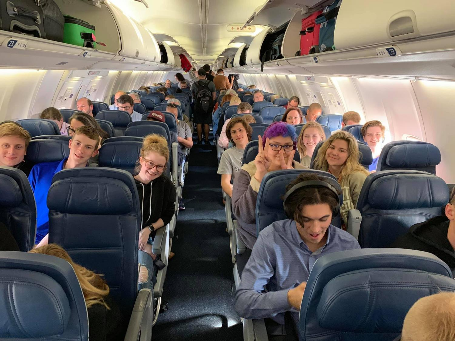 About+to+takeoff+for+Anaheim%2C+Cali.%2C+Pony+Express+students+find+their+seats+and+get+comfortable+for+their+four+hour+flight.
