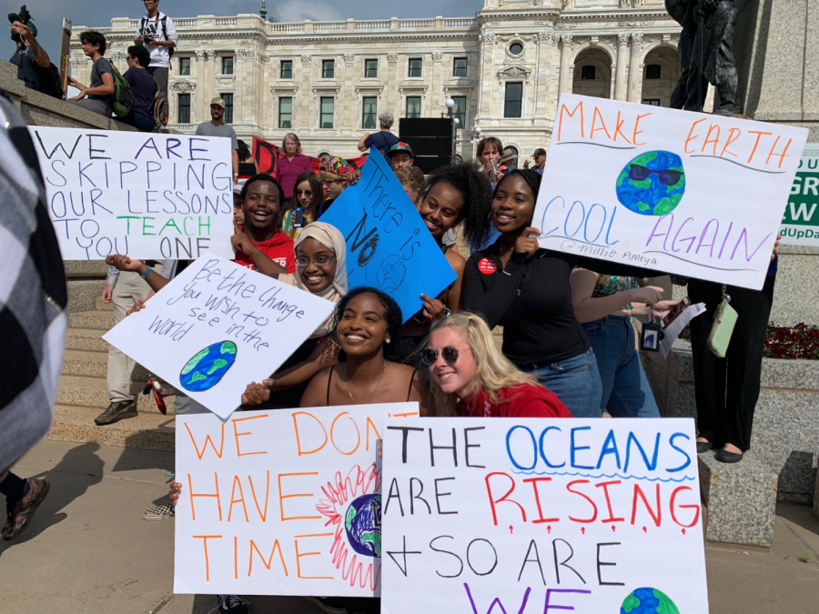 Students gather at St. Paul capital on Sept. 29 to protest climate change. Students' handmade vibrant signs in hopes to catch the government's attention.