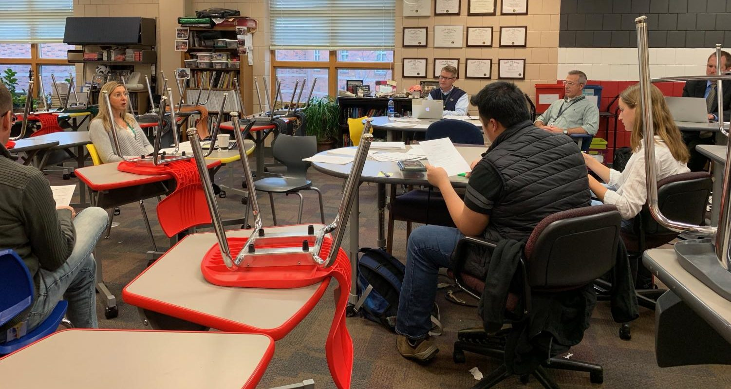 The innovations team gathers for a meeting after school on Oct. 10 in Rachel Steil's room to discuss the 2020-2021 course registration guide.