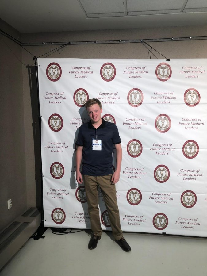While most students were sitting by the poolside, junior Keegan Kogl was in Boston for the Congress of Future Medical Leaders.  The event took place last June, and he got his certificate of excellence for attending it on Sept. 27.