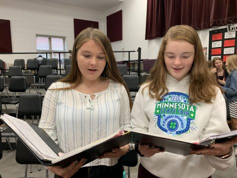 Juniors Abbey Rademacher and Josie Haugen are sight-reading a piece called 'What Happens When A Women Takes Power.'