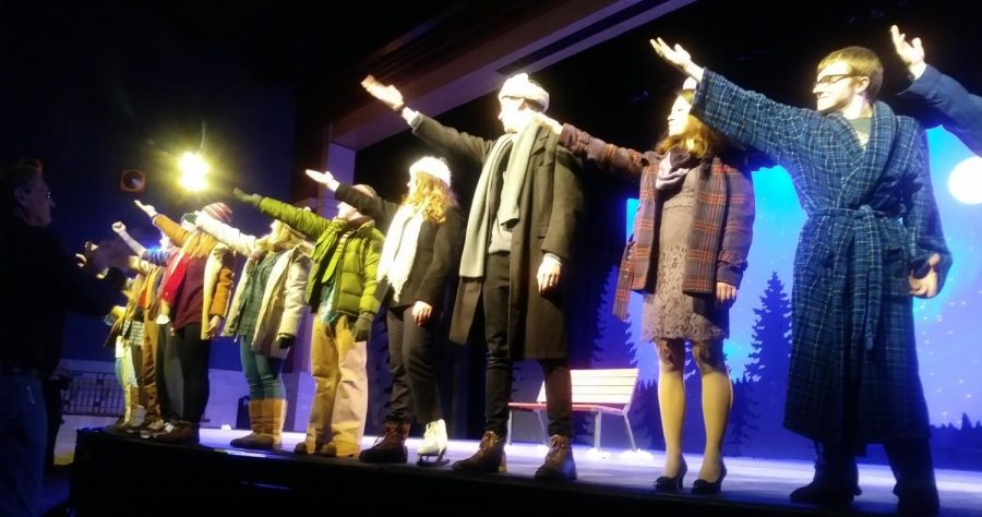 The cast performs the final bow of the last performance of