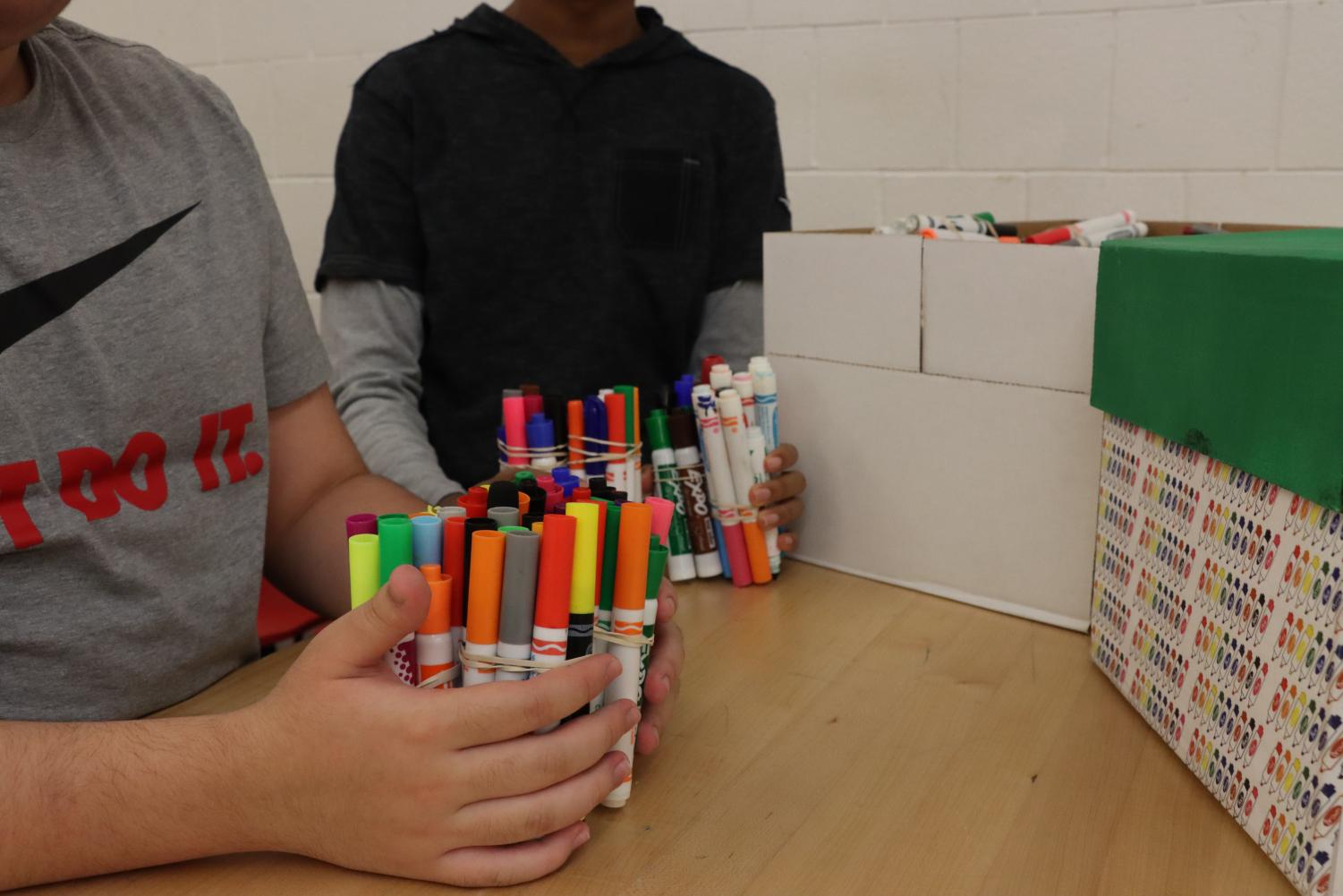 Students from the work experience class have been collecting dead markers since the beginning of the school year. They have collect over 200 markers to give back later this year to Crayola.