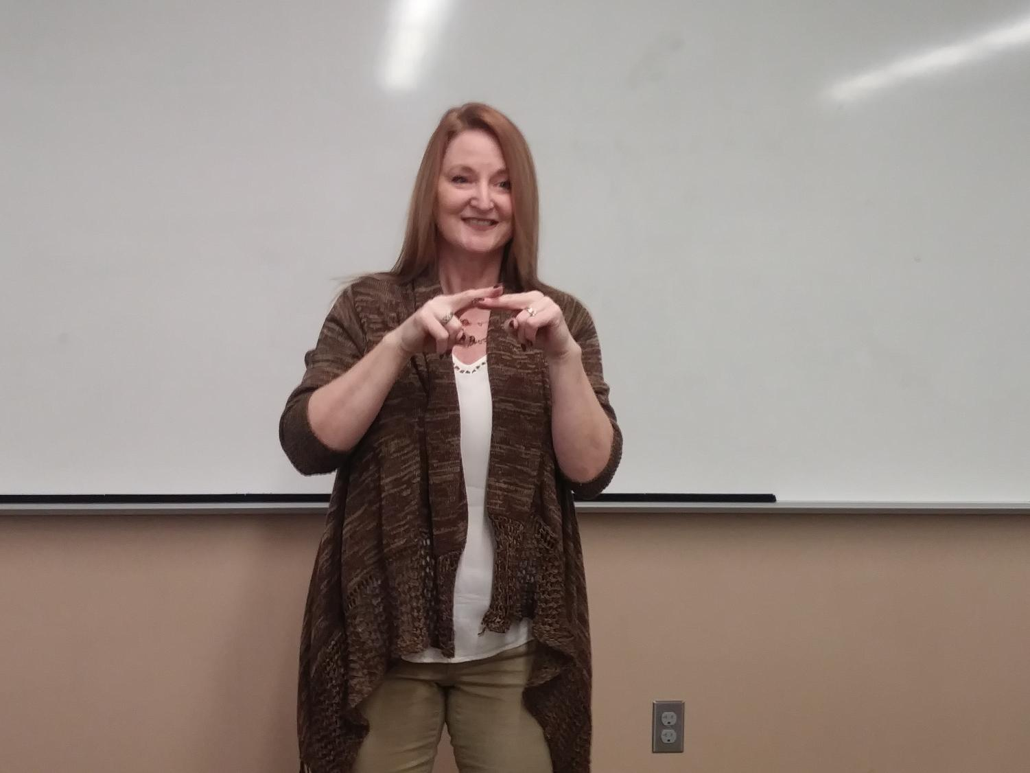 ASL teacher Becky Mazzara is back teaching after a license issue. She is very excited to be back doing what she loves, teaching ASL to students.