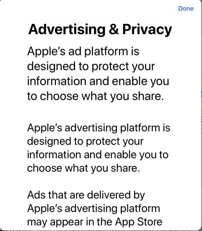 Apple's ad and privacy policy says it is designed to let users share what they want to share. Further down, the policy says Apple can use purchases, searches and demographics to fit ads to a specific user.