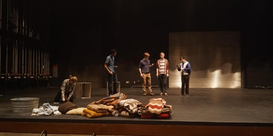 One Act play team practices in the auditorium after school.