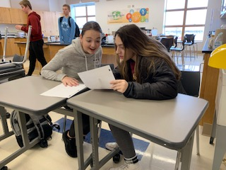 Sophmores Emma Villarreal and Camryn Hartwig study for a chemistry test. They stay after school for extra help for multiple classes to understand their  work to their best ability.