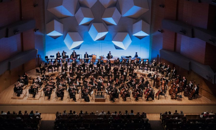 Orchestra Hall uses large cubes as their unique signature auditorium look. The cubes help disperse sound during their performances, including the performances that can be seen utilizing the Hall Pass tickets.