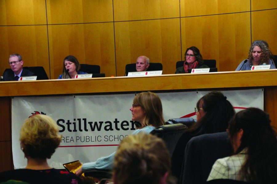 School Board members discuss the recommendations at a meeting at the city hall on Feb. 6. The Community Design Team recently made the official recommendations for future expansions or cuts in elementary schools in the district.