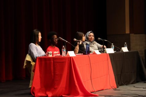 Senior Khuluc Yang, juniors Mark Sinyigaya, Shahd Abouhekel and freshman Ariam Mussiel speak about being first generation citizens. This forum helped students understand what first generation students go through on a day to day basis.