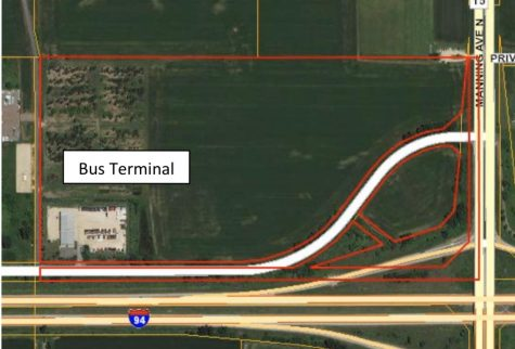 The boundaries of the current bus terminal on Hudson Boulevard North in Lake Elmo. The bus terminal is at risk of closing following a Lake Elmo City Council meeting in January