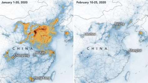 This detailed graph shows the Nitrogen dioxide emissions in China in Jan. and Feb. before and after the coronavirus outbreak. The picture in Feb. had a drastic reduction in Nitrogen dioxide levels in the air due to people being quarantined.