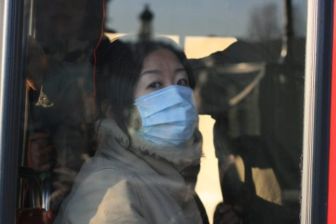 A tourist on a bus wears a mask to try to stop the spread of germs.
