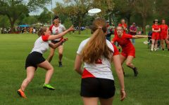 Junior Bijou Acers goes in for the catch in last year's Girls Ultimate Frisbee team game against Eden Praire. Because the season has not yet started the photo is from last year.