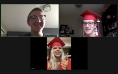 Newspaper editors-in-chief John Franklin and Hazel Flock gather on a final Zoom call. They dressed up in their cap and gown to signify the virtual graduation.