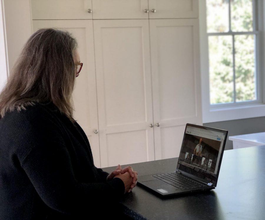 With churches being closed, online worship has been the best way for people to 'attend' church. St. Andrew's Lutheran Church located in Mahtomedi is using the platform of Vimeo to upload online worships. Church member, Sara Meslow watches Pastor Kyle Jackson give a sermon online.