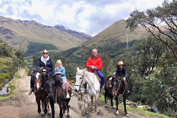 Brandon Maxwell, Amanda Maxwell, along with their children Owen and Amani Maxwell. This was taken while the family was horseback riding through the hills of Ecuador the past year.