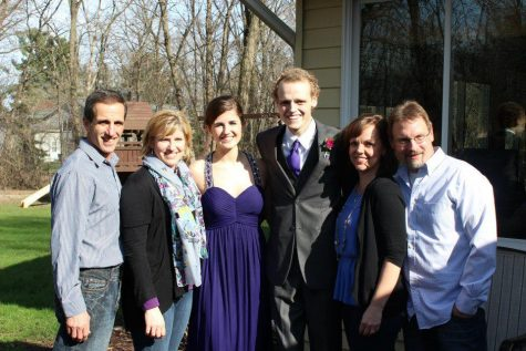 This picture showcases (from left to right) Vic, Mary, and Amy Adamle, along with Zach, Laura, and Rob Sobiech. It is  taken right after Zach turned 18, and on the same day as prom.