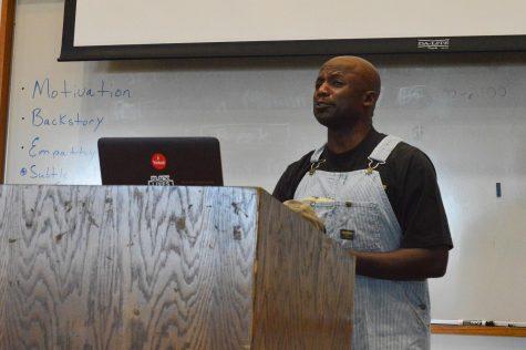 Cultural Liaison Cornelius Rish presents a piece as Tom Robinson from