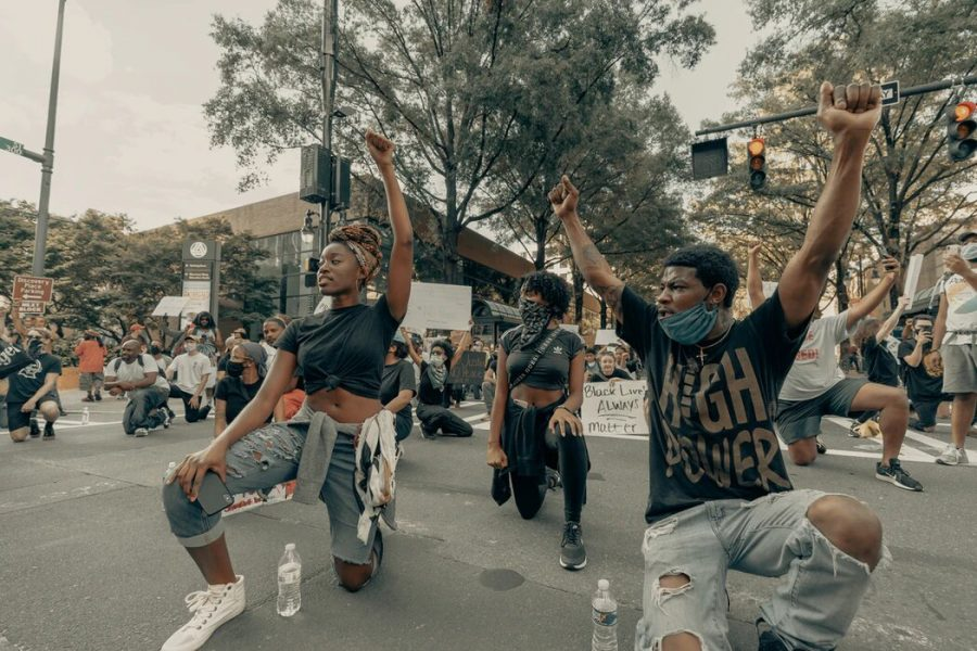 Protestors at a George Floyd protest in Charlotte, NC on May 30, 2020. Theyre protesting the police brutality and systemic racism in our society.