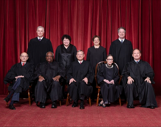 The previous Supreme Court Justices on Nov. 30, 2018. In the front row, second from the right is Ruth Bader Ginsburg who passed away recently. Her seat is waiting to be filled. Front row L-R: Justices Stephen G. Breyer and Clarence Thomas, Chief Justice John G. Roberts Jr., Justices Ruth Bader Ginsburg and Samuel A. Alito. Back row L-R: Justices Neil M. Gorsuch, Sonia Sotomayor, Elena Kagan, and Brett M. Kavanaugh.