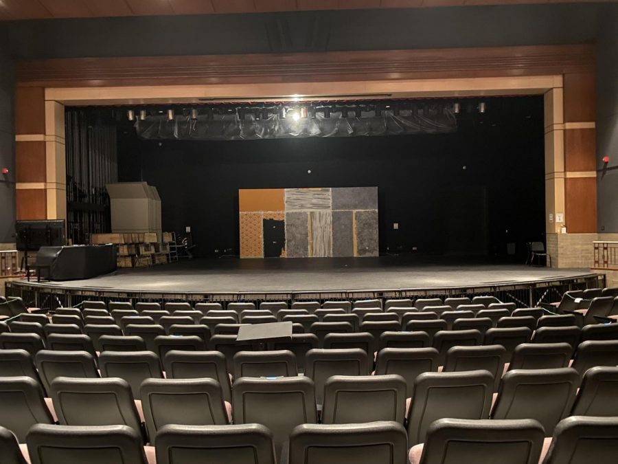 On Oct. 27, the theater was empty because students were rehearsing their plays online over Zoom. They have to do this so students and teacher stay safe, because of COVID-19.
